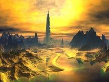 Futuristische Toren in Gouden Vreemd Landschap Stock Afbeeldingen
