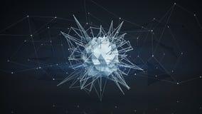 Futuristische veelhoekige netwerkvorm Abstracte 3D geeft terug Royalty-vrije Stock Foto