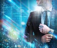 Futuristische visie van succesvolle zakenman Royalty-vrije Stock Afbeelding