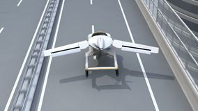 Futuristische vliegende auto die op weg landen stock footage
