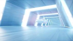 Futuristische vliegende auto met vrouw het snelle drijven in sc.i-de tunnel van FI, coridor Concept toekomst het 3d teruggeven stock illustratie