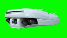 Futuristische vliegende auto met vrouw Vervoer van toekomst isoleer het 3d teruggeven royalty-vrije illustratie