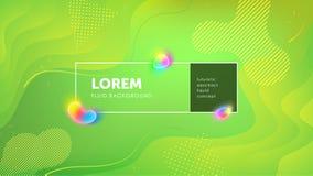 Futuristische vloeibare abstracte achtergrond Vloeibare groene gele gradiënt geometrische vormen EPS 10 vector vector illustratie