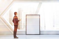 Futuristische witte ruimte, hexagonaal venster, affiche stock foto