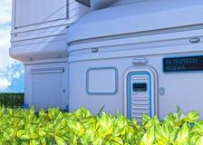 Futuristische Wohnungen und belaubte Hecke lizenzfreie stockfotos