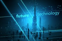 Futuristische Wolkenkratzer Digital-Universums Lizenzfreie Stockbilder