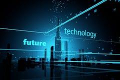 Futuristische Wolkenkratzer Digital-Universums Stockfotografie