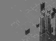 Futuristische Wolkenkratzer im Fluss Der Fluss von digitalen Daten Stadt der Zukunft Abbildung 3D Wiedergabe 3d schwarzes lizenzfreie abbildung