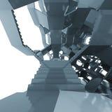 Futuristische Zusammensetzung der Treppenhausarchitektur-Struktur Stockfoto