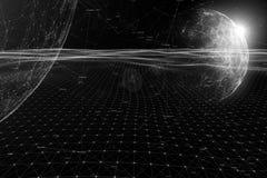 Futuristische zwart-wit cyberspace achtergrond stock foto