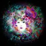 Futuristischer bunter Hintergrund mit sch?nem weiblichem Gesicht und Schmetterlingen lizenzfreie abbildung