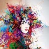Futuristischer bunter Hintergrund mit sch?nem weiblichem Gesicht und Schmetterlingen vektor abbildung