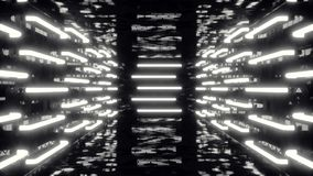 Futuristischer dunkler Korridor Abstrac mit Neonlichtern Glühende Leuchte Futuristischer Architekturhintergrund, Animation 3D stock video