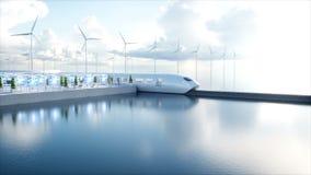 Futuristischer Einschienenbahnzug Speedly Sci FI-Station Konzept von Zukunft Leute und Roboter Wasser- und Windenergie lizenzfreie abbildung