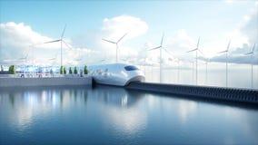 Futuristischer Einschienenbahnzug Speedly Sci FI-Station Konzept von Zukunft Leute und Roboter Wasser- und Windenergie