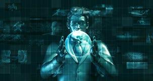 Futuristischer Hintergrund mit Geschäftsmann und Kugel in den Händen stock footage