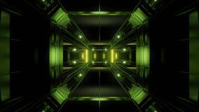 Futuristischer Hintergrund vjloop Illustration des Wissenschafterfindungstunnelkorridors 3d stock abbildung