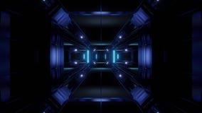 Futuristischer Hintergrund vjloop Illustration des Wissenschafterfindungstunnelkorridors 3d lizenzfreie abbildung