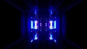 Futuristischer Hintergrund vjloop Illustration des Wissenschafterfindungstunnelkorridors 3d vektor abbildung