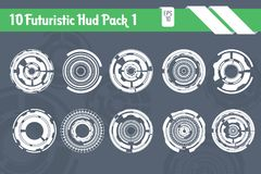 10 futuristischer HUD Elements Technology Hi Tech-Vektorsatz vektor abbildung
