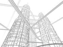 Futuristischer Industrie-Wolkenkratzer Stockbilder