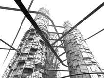 Futuristischer Industrie-Wolkenkratzer und Einschienenbahnen Stockfotos