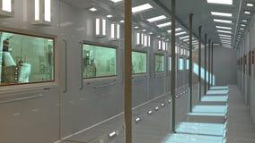Futuristischer Innenraumuntergrund und Scifistadt Stockbild