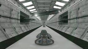 Futuristischer Korridor und UFOS Stockfoto