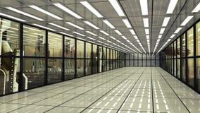 Futuristischer Korridorinnenraum und -stadt Stockfoto