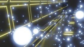 Futuristischer metallischer Boden der Zusammenfassung mit den gl?henden Neonstromkreisen eingebettet im Boden und in den gl?hende vektor abbildung