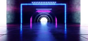 Futuristischer ovaler Kreis-gl?hendes purpurrotes blaues Neonrechteck formte Laserstrahllichter auf konkreter Schmutz-Boden-refle stock abbildung