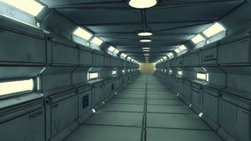 Futuristischer Raumschiffinnenraumkorridor Lizenzfreie Stockfotos