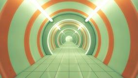 Futuristischer Raumschiffinnenraumkorridor Stockfotografie