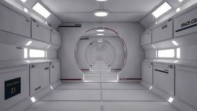 Futuristischer Raumschiffinnenraumkorridor Stockfoto