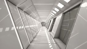 Futuristischer Raumschiffinnenraumkorridor Lizenzfreies Stockfoto