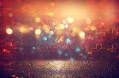 Futuristischer Retro- Hintergrund des 80 ` s Retrostils Digital oder Cyber-Oberfläche Neonlichter und geometrisches Muster lizenzfreies stockbild