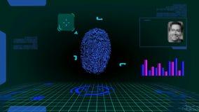 Futuristischer Scan Fingerabdruck-Digital stock footage