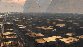 Futuristischer Stadt SCIFI Lizenzfreies Stockfoto