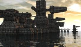 Futuristischer Stadt SCIFI Stockbild