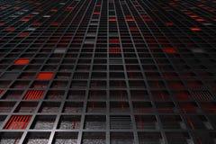 Futuristischer technologischer oder industrieller Hintergrund gemacht von gebürstetem Metallgitter mit glühenden Linien und Eleme Stockfotos