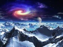 Futuristischer Tempel im Tal auf ausländischem Eis-Planeten vektor abbildung