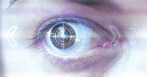 Futuristisches Auge HUD/Monitor stock footage