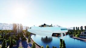 Futuristisches Auto, das über die Stadt, Stadt fliegt Architektur der Zukunft Schattenbild des kauernden Geschäftsmannes Super re stock abbildung