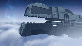 Futuristisches Frachtraumschiff, das Wiedergabe 3D fliegt Stockfotos