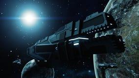 Futuristisches Frachtraumschiff in der kosmischen Wiedergabe der Szene 3D Lizenzfreies Stockbild