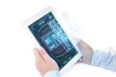 Futuristisches ipad mit ganz eigenhändig geschrieber Spielmenüzone lizenzfreies stockfoto