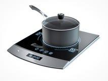 Futuristisches Küchenofenmit berührungseingabe bildschirm auf weißem Hintergrund Stockbilder