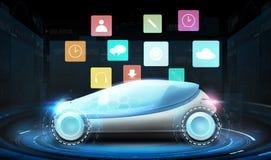 Futuristisches Konzeptauto mit virtuellen Menüikonen Stockfotografie