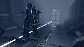Futuristisches mech Gehen durch einen Sciencefictionshangar Stockbild