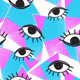 Futuristisches nahtloses Muster des Vektorretrostils Bunter Hintergrund der Weinlese alles sehende Augensymbol Modeillustration d Stockbild